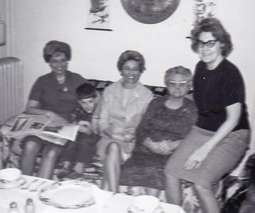 Ann (Humma) Huber, David (a friend), Verna (Humma) Johnston, Ida Estella 'Stella' (Wien) Humma and Evelyn (House) Nice (Ann & Verna's cousin). In Philadelphia, March 1966.