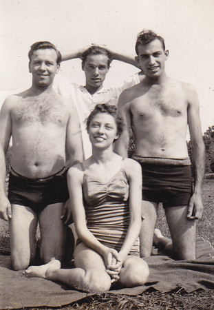 L-R: Ralph Bachman, 'Mike' Warren Humma, Walther Johnston, with Verna Humma (later Johnston)