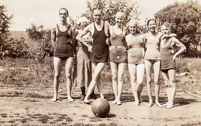 Claude Williams, Grace Rosen, Jack DeFehr, Kathryn Schugars, Dorothy Rosen, Verna Johnston, and ??. (Taken at Tulley), Summer of 1935.