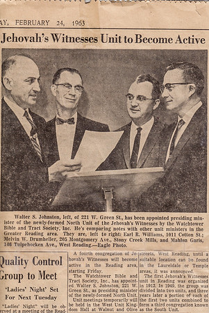 Feb 24, 1963 Reading Eagle; Walter S. Johnston, Earl R. Williams, Melvin W. Drumheller, and Mahlon Garis.