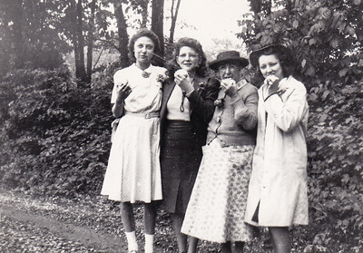 L - R: Verna Humma (later Johnston), Mildred Yeich (later Strouse). Who are the other two??