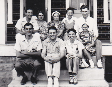 Front:  Joe or Harold Johnston, Melvin Strouse, Verna (Humma) Johnston, Mary Williams. Back: Earl Williams (far right).