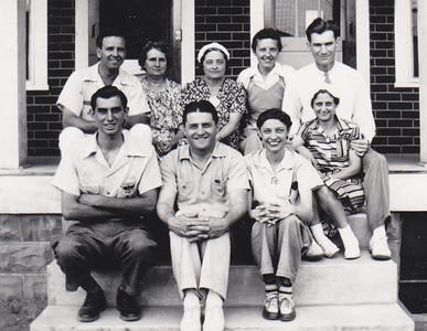 Front:  Joe or Harold Johnston, Melvin Strouse, Verna (Humma) Johnston, Mary Williams. Back: Earl Williams (far right).