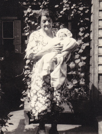 Louisa Hoffa Hafer Wien, holding Dick Bortz.