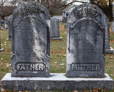 Samuel Kauffman1804 - 1884 and Sarah Haas, 1818 - 1900, (Vera Naftzinger ancestors).  (In St. Michael's cemetery).