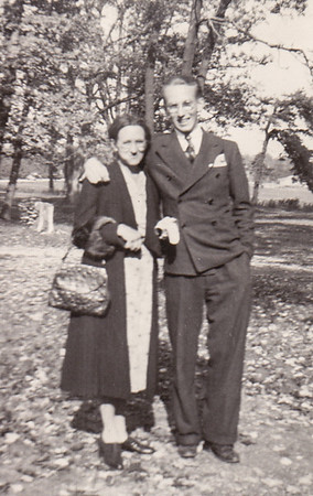 Peggy Naftzinger's maternal grandmother Sarah Snyder, with Charles Snyder, known as 'Uncle Bud', in the Poconos. (Charles is an uncle to Peggy Naftzinger).
