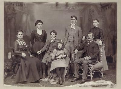Henne Family, from left: Ellen (Miller), Anne (Kline), Charles Henne, Mollie (Naftzinger, front center), Elmer Henne (tall in back), Albert Henne (seated), Laura (Reichert)