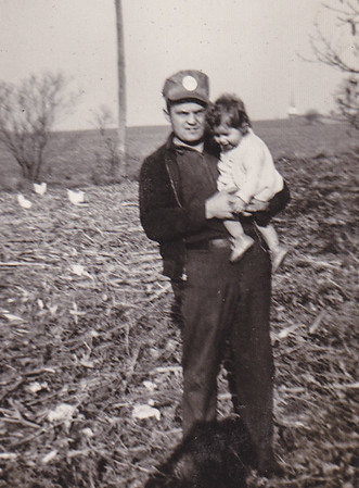 Carl Naftzinger with Peggy. St. Michael's church in background.
