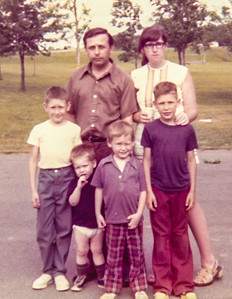 Daniel & Gayle Schrack family, June 26, 1976. Children L-R: Curtis, Daniel, Andy and Charles.