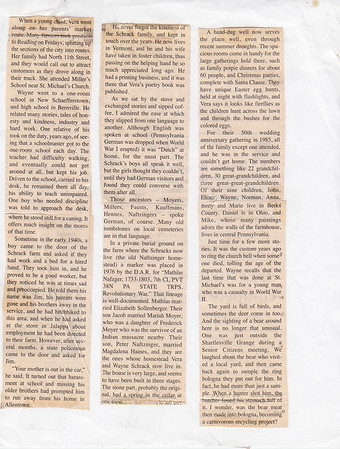 """""""In Our Neck Of The Woods"""", by Janet Barr for the Hamburg Item, Jan. 1, 2003. Continued from page 4.  Interview with Wayne and Vera (Naftzinger) Schrack about their life and homestead."""