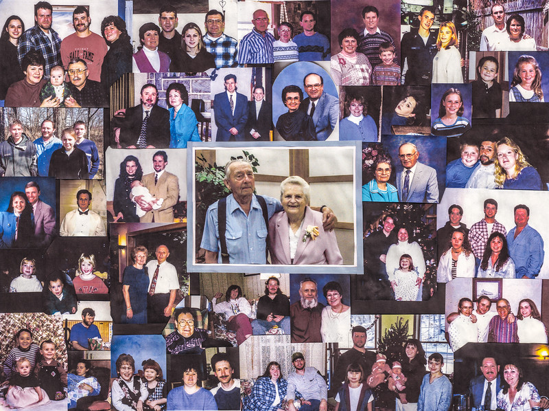This collage was given to Wayne & Vera from the family around 2001 or '02? Wayne and Vera center, their children's families custered around them clockwise from their oldest son through their youngest.