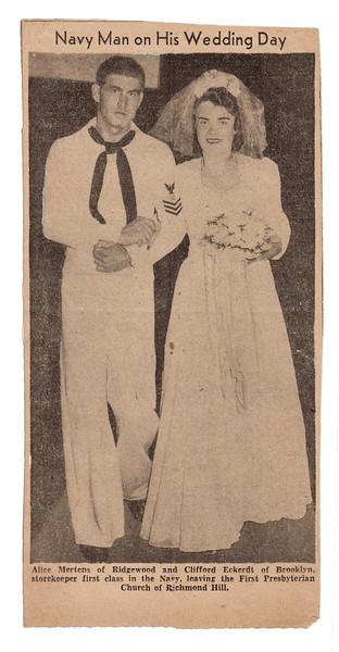 Clifford Eckerdt and Alice Mertens, August 14, 1943.