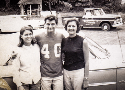Pat and Ben with Nancy. Notice the Lombardi landscaping truck in the background.