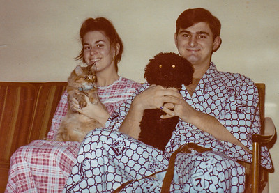 Pat and Ben with cat Rudy and dog Marcel, in our apartment in Minot, ND, where Ben was stations witht he Air Force for one year. Took photo with the camera on a tripod and timer, during the summer of 1969-1970.