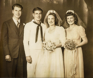 Pat's parents, Cliff and Alice, on their wedding day. Cliff's brother Larry as best man, and Alice's best friend Kitty as her maid of honor.