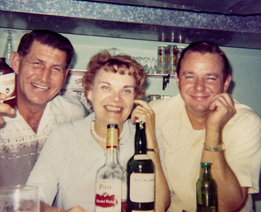 Pat's dad and mom, with Ben's dad, in their rec-room in the basement of their house in Lake Riviera, around 1967-68.