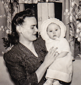 Pat - about three  months old - with her mom