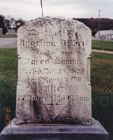 Angelina (Filbert) Lamm's tombstone at Bern Cemetery, along 183. (Etillie Faust's mother and wife of Jared Lamm).