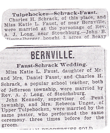 Charles H. Schrack and Katie L. Faust, wedding announcements.