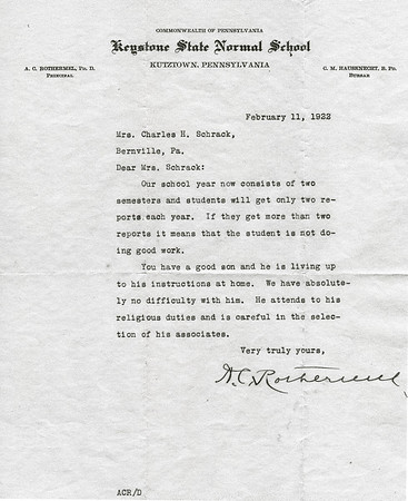 Letter from Mr. Rothermel at Keystone State Normal School (now Kutztown University) to Katie Schrack commending her son.