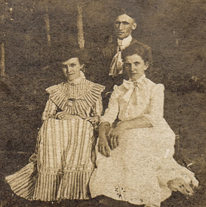 Believed to be Charles Schrack in the back. Does anyone know who the two women are??