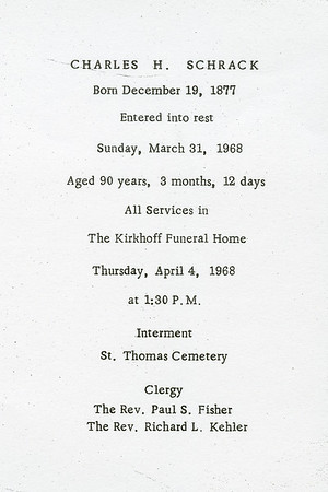 Charles H. Schrack, memorial program