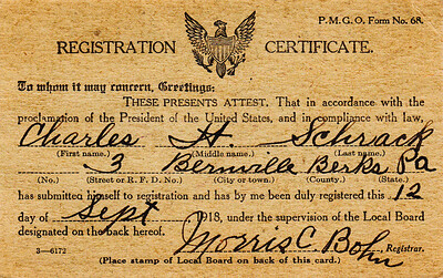 Charles H. Schrack Registration Certificate during World War I.