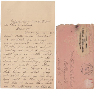 Letter written from Jared Fidler to Charles Schrack on Nov 27th, 1894, making arrangements for Charles' visit to them. (side 1)