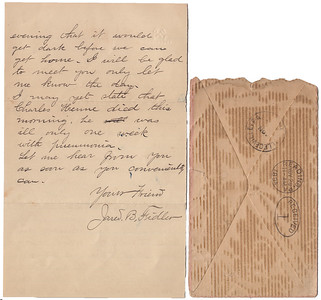 Letter written from Jared Fidler to Charles Schrack on Nov 27th, 1894, making arrangements for Charles' visit to them. (side 2)