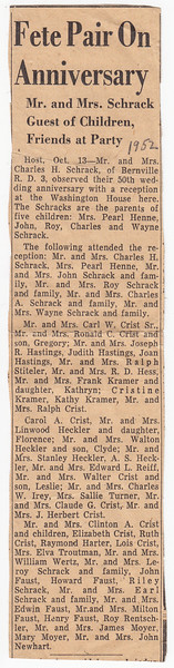 50th wedding anniversary, for Charles and Katie Schrack, held at the Washington House, (Oct 13, 1952) ..... (List of attendees).