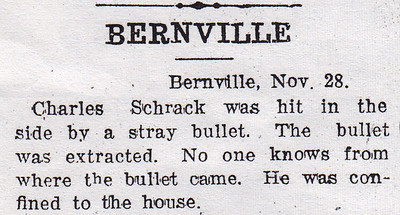 Charles H. Schrack was hit by a stray bullet.