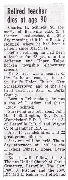 Charles H. Schrack obituary.