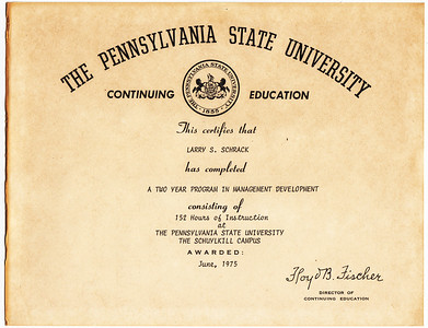 One of many of Larry Schrack's continuing education certificates.