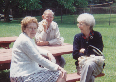 Meda Schrack, Leroy (George's son) and his wife Carrie Schrack, in 1992 at the Schrack reunion, Blue Falls.