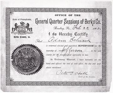 J. Adam Schrack; Jefferson Township Supervisor Cirtificate, 1903. Adam Schrack; Jefferson Township Supervisor Certificate, 1903.