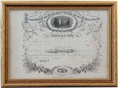 Adam Schrack and Susan Cryst marriage certificate, 1872.
