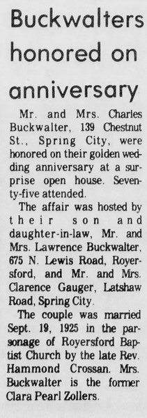 Golden anniversary of Charles and Clara Pearl (Zollers) Buckwalter, married Sept. 19, 1925.