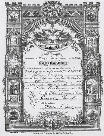 Baptism cirtificate for John H. Schrack