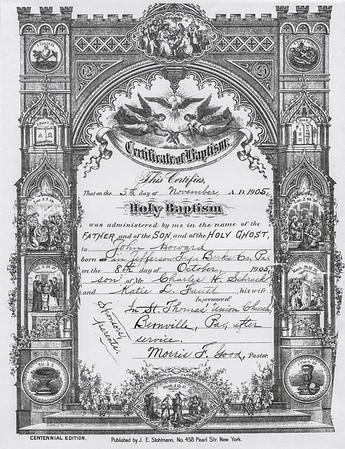 Baptism cirtificate for John H. Schrack