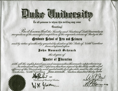 Duke University cirtificate to John H Schrack, degree of 'Master of Education'.