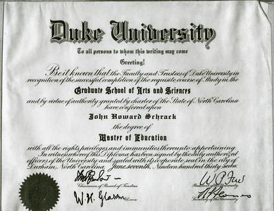 Duke University cirtificate to John H Schrack, degree of 'Master of Education'.
