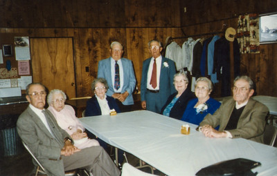 John & Florence, Mae, Earl, Wayne, Florence, Vera, and Roy.  (Wayne and Vera's 65th Anniversary, at the Strausstown Fire Co.)