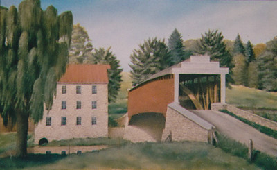 Margo Langley (Mary Margaret Schrack) always wanted a picture of a covered bridge, so her parents (John and Florence) had her cousin Michael Schrack paint this for her.
