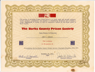 Berks County Prison Society honors John H. Schrack for outstanding service assisting prisoners.
