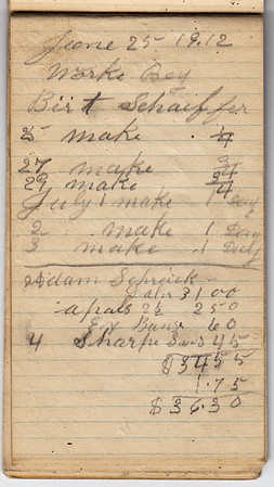 It is uncertain to whom this note book belonged to. It appears to have belonged to a 'contractor' where he kept his records in order to bill the customer. It was in a small box that belonged to Charles and Katie Schrack.