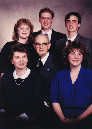 Harvey Alven Hill, Jr. family. Front: Dolores (Schrack), Harvey and Sharon. Back: Amy, H. Sheldon and Armand.