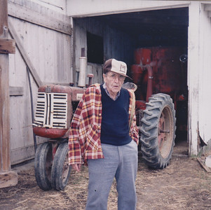 Roy Schrack, at his brother Charles's farm, April 1997.
