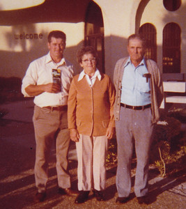 Bob, Mae and Roy Schrack, in Florida, 1974.
