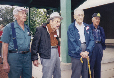 Wayne, Roy, John, Charles. One-Room School Reunion at the Strausstown Playground. Year 2000.