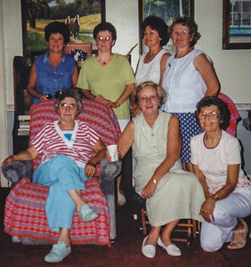 All the Schrack girl cousins (grand-daughters of Charles & Katie), August 1999. Front: Mary Bender, Mary Margaret Langley and Anna Reinhart. Back: Leanna Light, Marilyn Kreiner, Betty Haag and Marie Hill. (In Wayne & Vera's livingroom with Michael's paintings on wall behind).